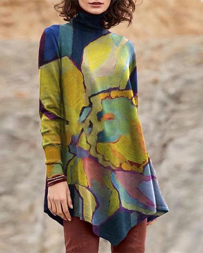 Vintage High Neck Oil Painting Print Irregular Long T-shirt for Women