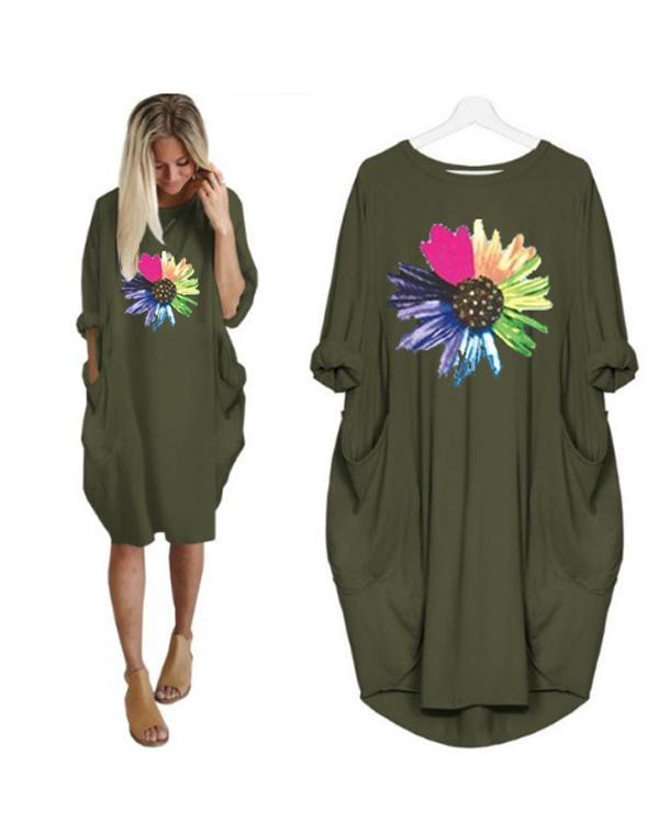 Floral Printed Casual Irregular Plus Size Dress