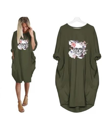 Women Skull Printed Casual Irregular Plus Size Dress