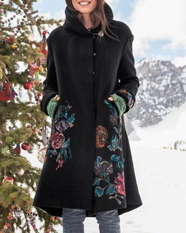 Floral Jacquard Vintage Buttons Down Lapel Collar Coat