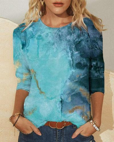 Blue Ombre Printed Long Sleeve Crew Neck Casual Shirts & Tops