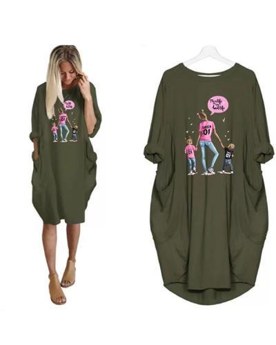 Super Mom Printed Loose Casual Irregular Plus Size Dress