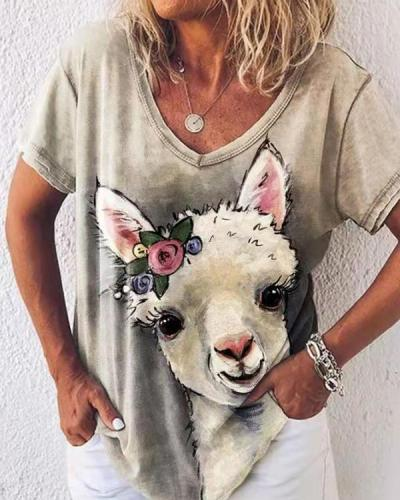 Lovely Sheep With Floral Gradient Print Sweety Shift T-shirt