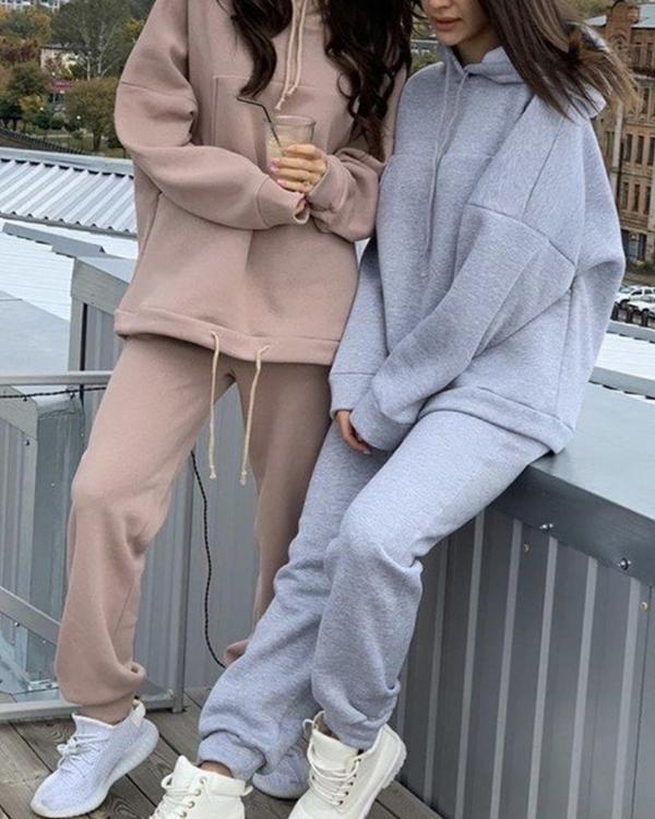 Women Tracksuits 2 Pieces Sets Oversize Sweatshirt Outfits