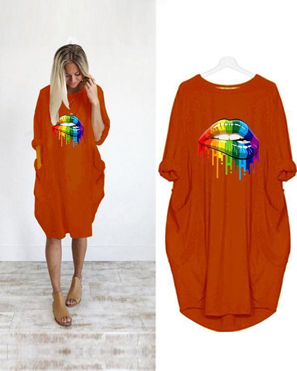 Lip Printed Loose Casual Plus Size Midi Dress