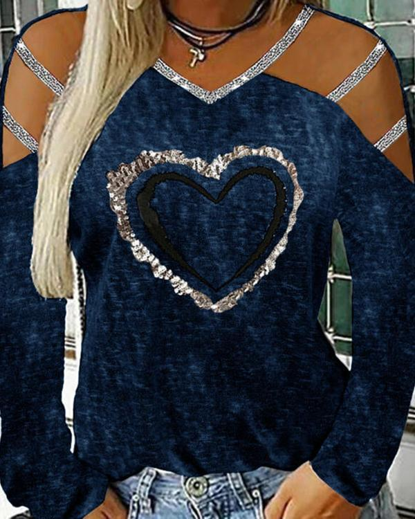 Sequins Cold Shoulder V Neck Long Sleeves Casual Sexy Blouses