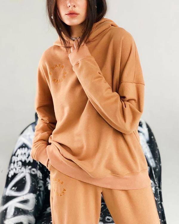 Women Tracksuits 2 Pieces Sets Street Style Hooded Sweatshirt
