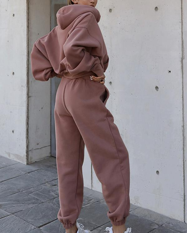 Women Tracksuits 2 Pieces Sets Street Style Sweatshirt Outfits