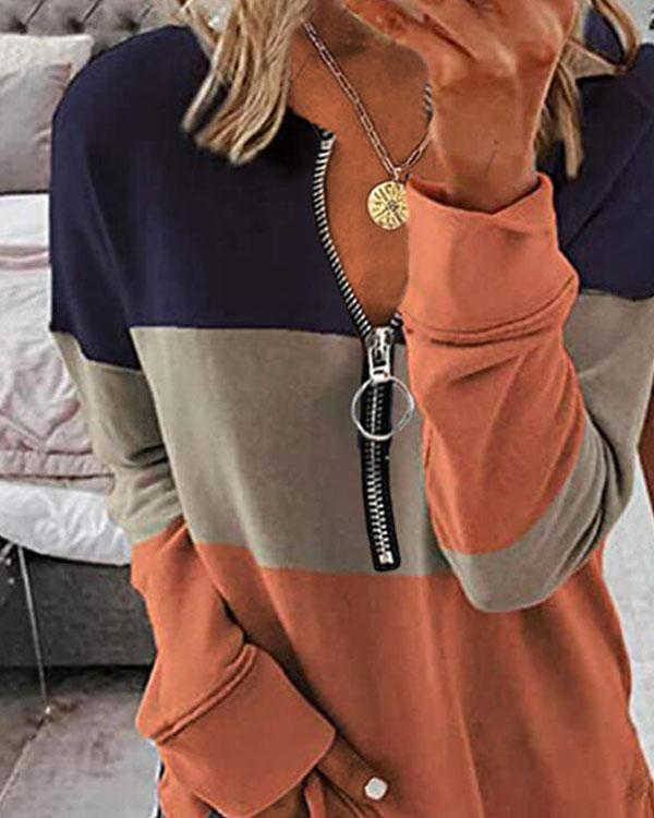 Color Block V-Neck Zipper Long Sleeves Sweatshirt Pullover