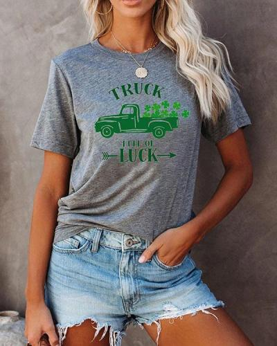 Women Printed Splicing Car Short Sleeves T-Shirt