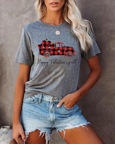 Women Plaid Printed Splicing Car Heart T-Shirt