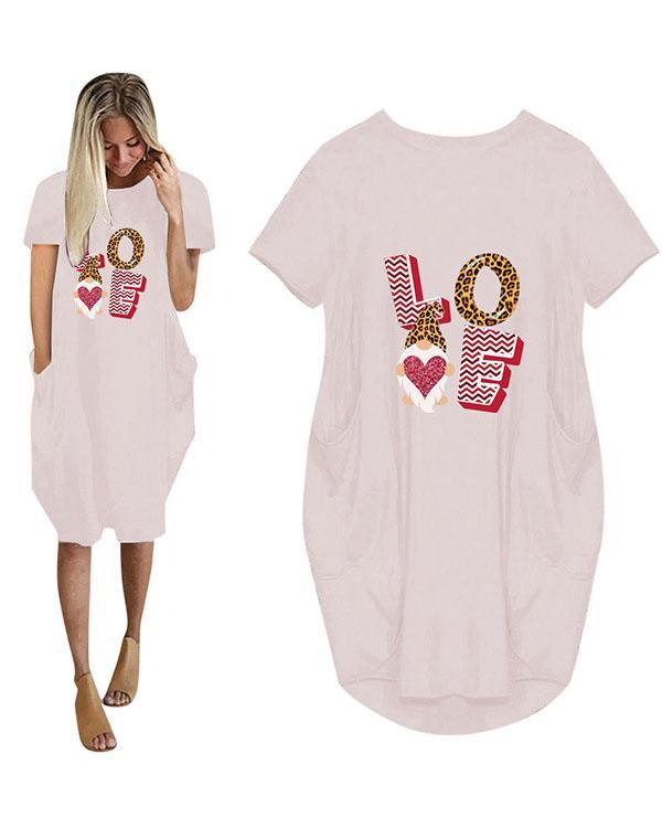 Love Printed Casual Plus Size Short Sleeve Midi Dress