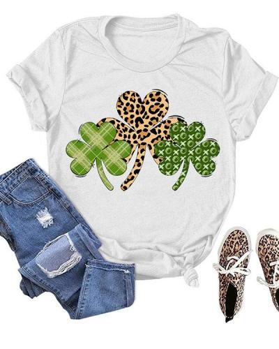 Leopard Leaves Printed Short Sleeves T-Shirt