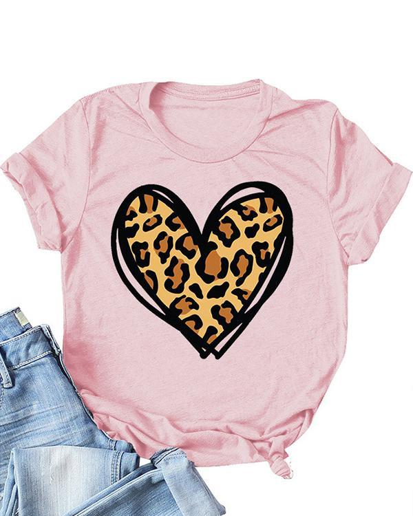 Valentine's Day Printed Love Heart Short Sleeves T-Shirt