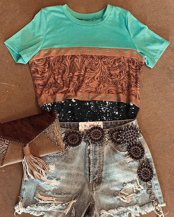 Crew Neck Printed Short Sleeve Casual Shirts & Tops