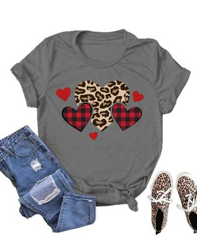 Love Heart Printed Casual Short Sleeves T-Shirt