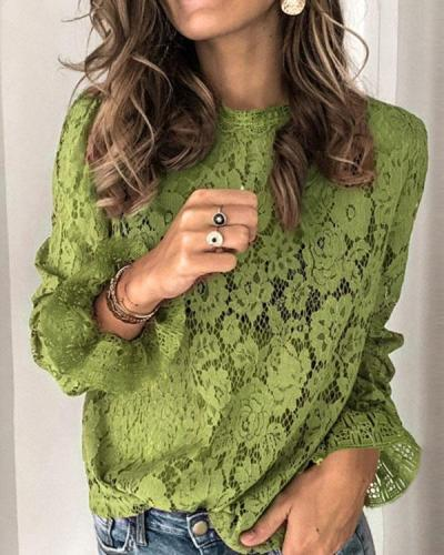 Lace Hollow Out O-Neck Long Sleeves Elegant Blouses