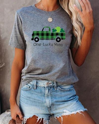 One Lucky Mama Printed Splicing Car Short Sleeves T-Shirt