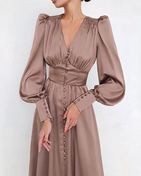 Spring Soft&Breathable Satin Ruched Dress Elegant Gowns