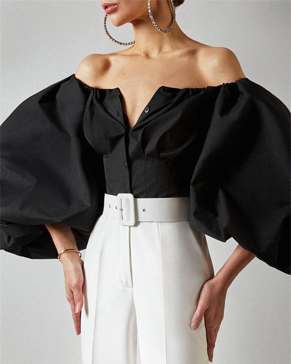 Women Cotton Lantern Sleeve Off Shoulder Button up Blouses