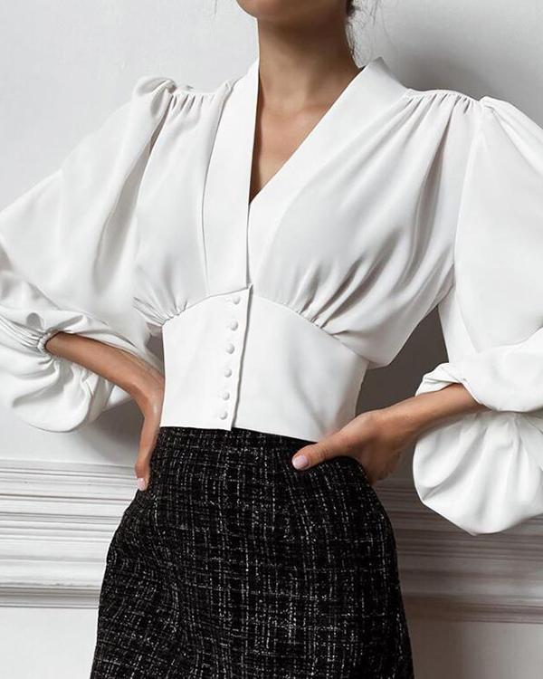 Women Elegant Solid Lantern Sleeve Button Decor V Neck Blouses