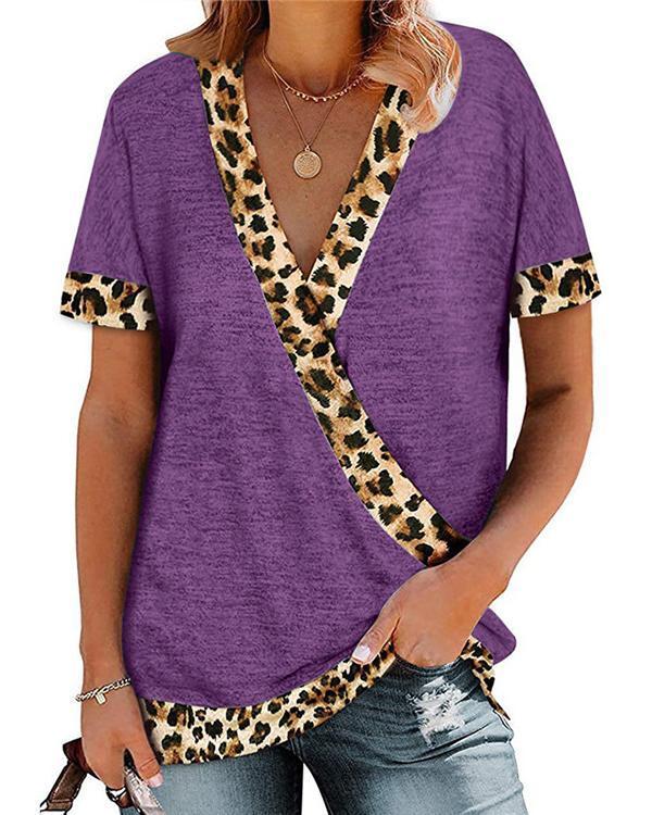 Leopard Printed Short Sleeve V Neck Shirt