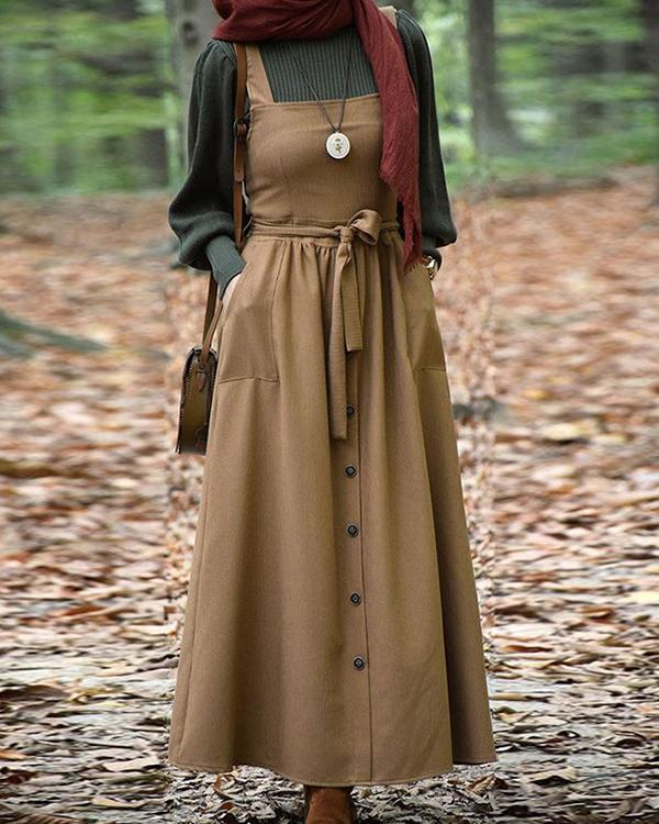 Casual Lace up A-Line Pleated Maxi Dress