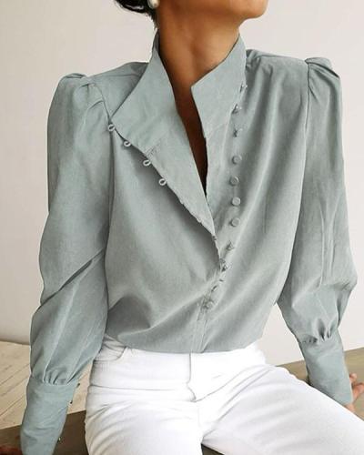 Women Vintage Stylish Button Shirts&Blouses