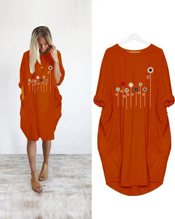 Flower Printed Casual Plus Size Midi Dress