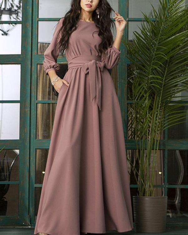 Lantern Sleeve Bow-Knot Waist Round Neck Maxi Dress
