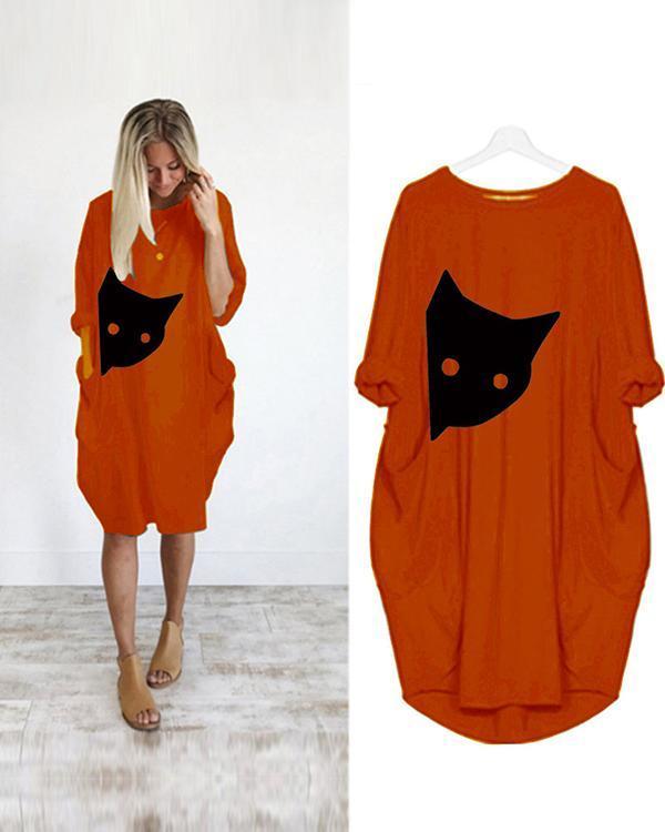 Printed Casual Plus Size Midi Dress