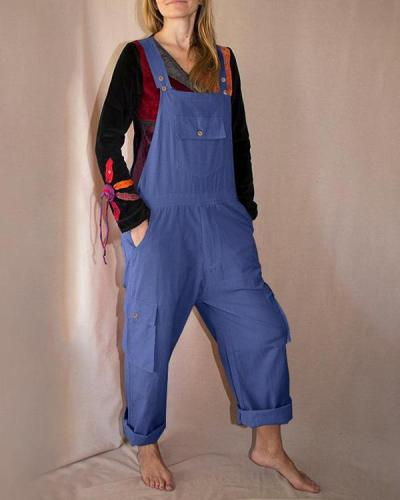 Casual Multi-pocket Overalls Casual Shift Pockets One-pieces Jumpsuits