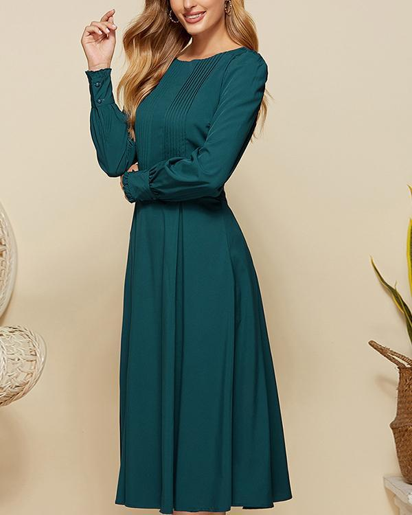 Women Vintage Solid Color Pleated Midi Dress Elegant Gowns