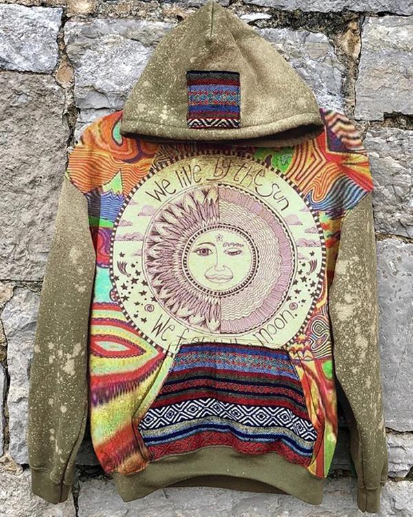 Multicolor Vintage Printed Long sleeve Pocket Hoodies
