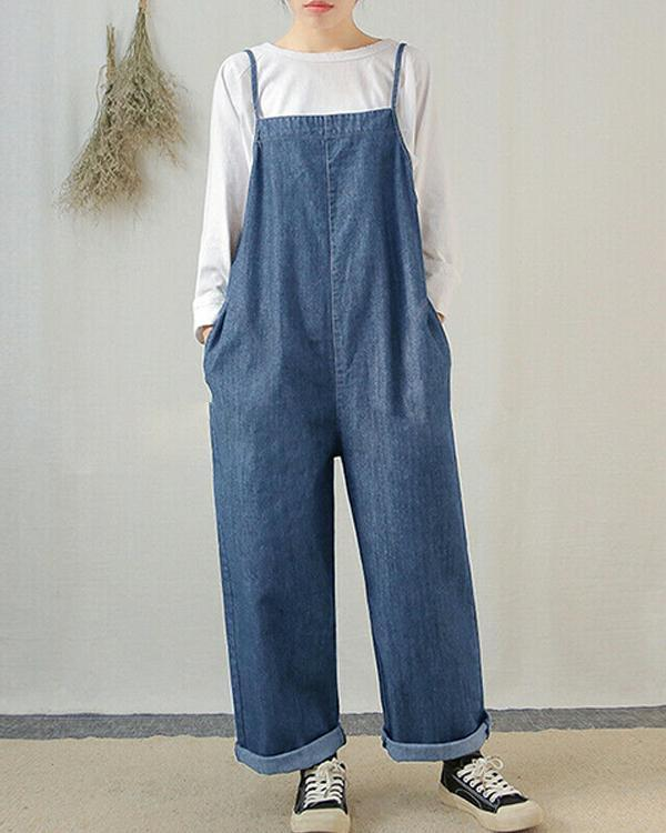 Women Sleeveless Wide Leg Cargo Pants Plain Casual Overalls Jumpsuit Romper