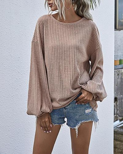 Solid Lantern Sleeve O-Neck Rib Knitted Tops