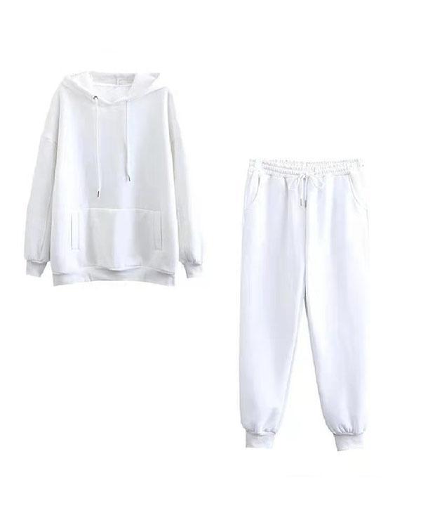 Women Oversize Fleece Tracksuits 2 Pieces Sets Streetshot Hoodie&Sweatpants