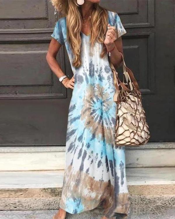 Floral Print Short Sleeve A-Line Maxi Dress