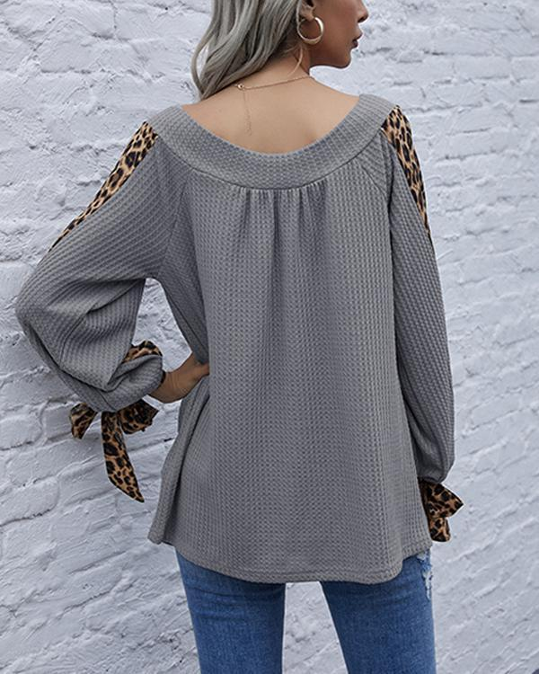 Leopard Patchwork Lantern Sleeve Bow Knot Tops