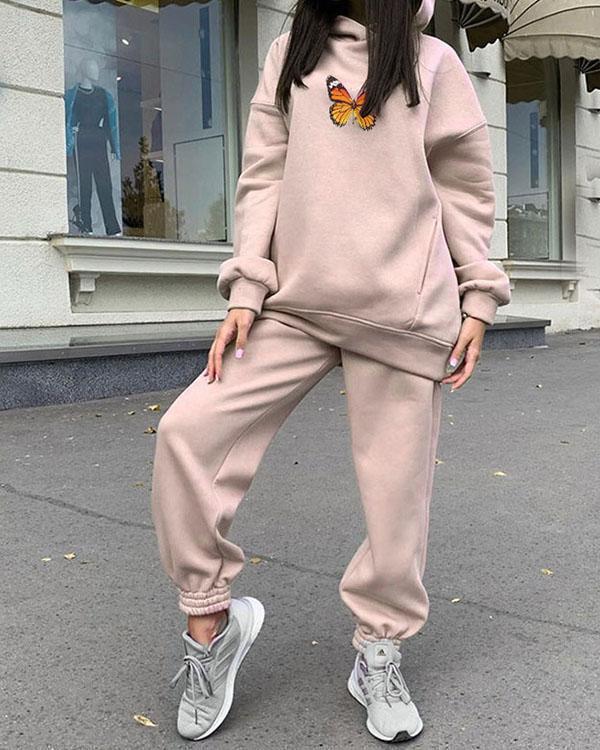Women Fleece Tracksuits 2 Pieces Sets Oversize Butterfly Print Hoodie&Sweatpants