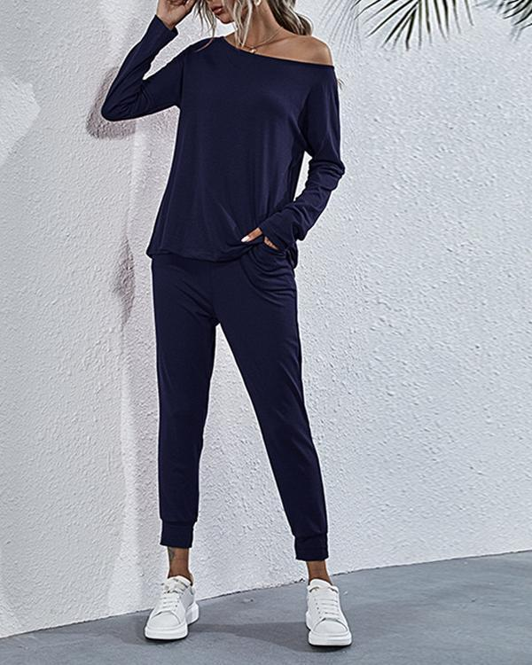 Solid Long Sleeve One Shoulder Two-Piece Fashion Suit