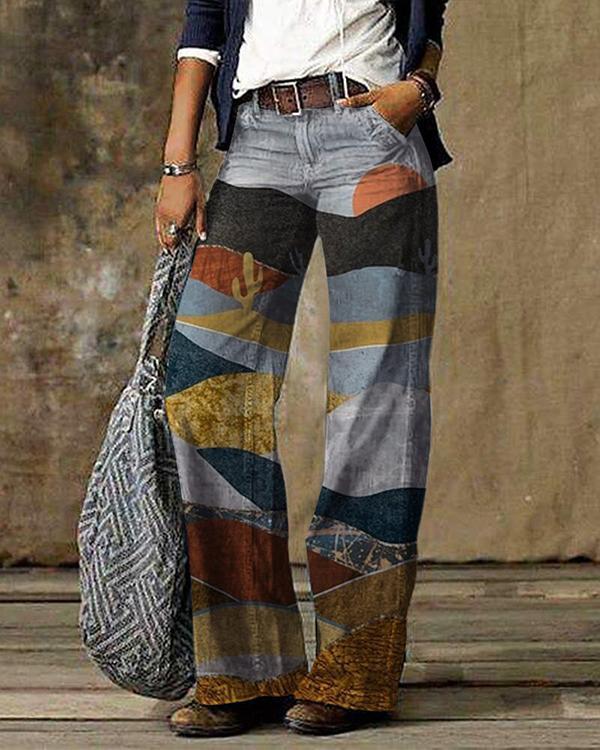 Copy Vintage Color Block Plaid Print Pocket Woman Pant Bottom