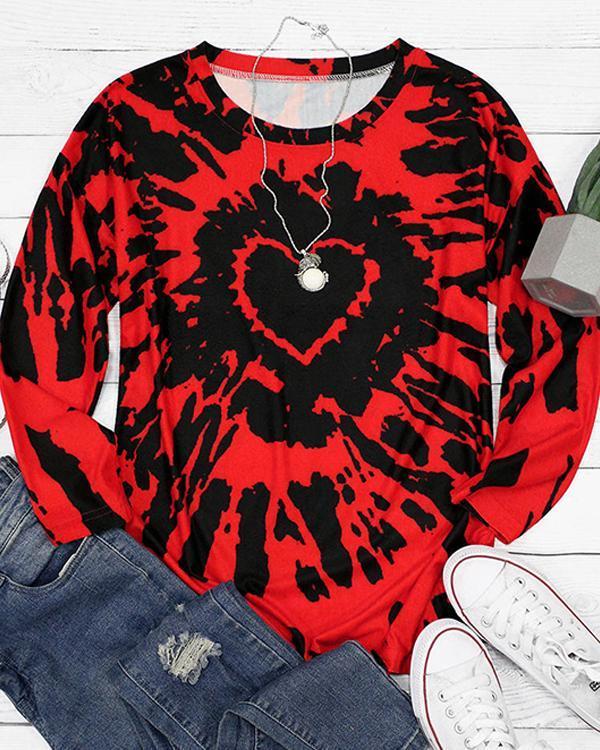 Tie Dye Heart O-Neck Long Sleeve Blouse