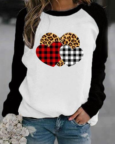 Heart Shaped Leopard Print Long Sleeves Color Block T-shirt