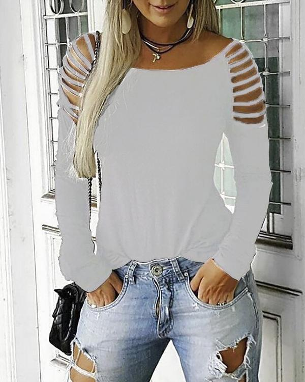 Sequins Cold Shoulder Long Sleeves Casual Sexy Tops