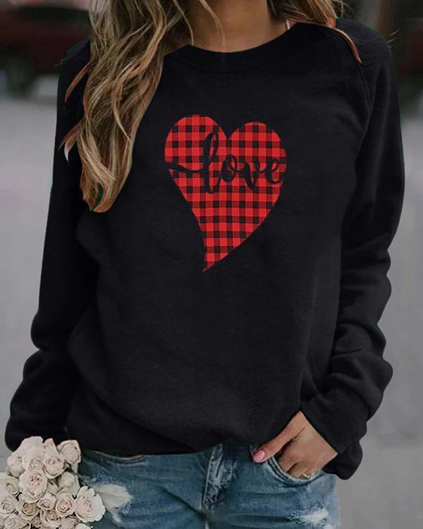 Love Heart Print Long Sleeves Casual T-shirts