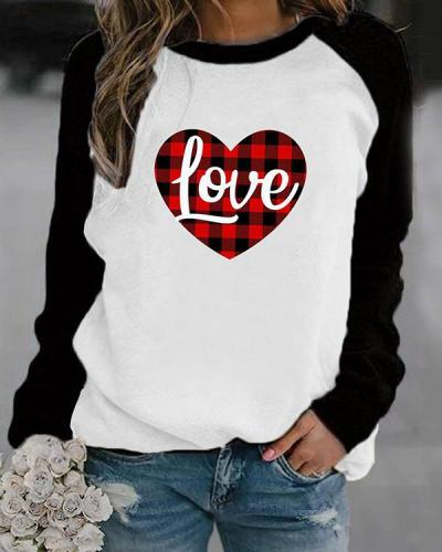 Love Letter in Heart Shaped Print Long Sleeves Color Block T-shirt