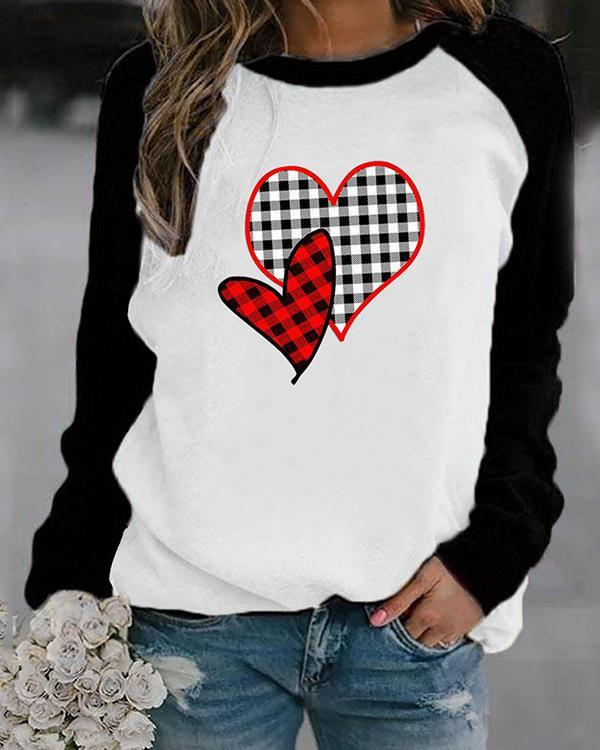 Heart Shaped Plaid Print Long Sleeves Color Block T-shirt