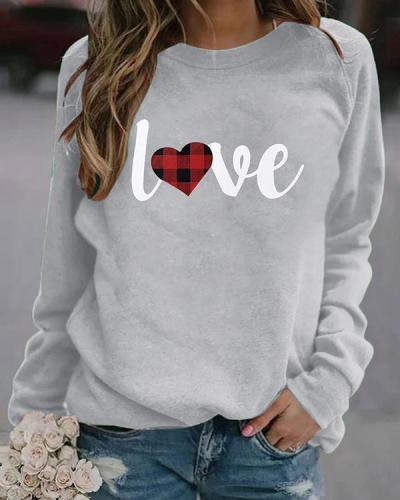 Love Print Long Sleeves Crew Neck T-shirt