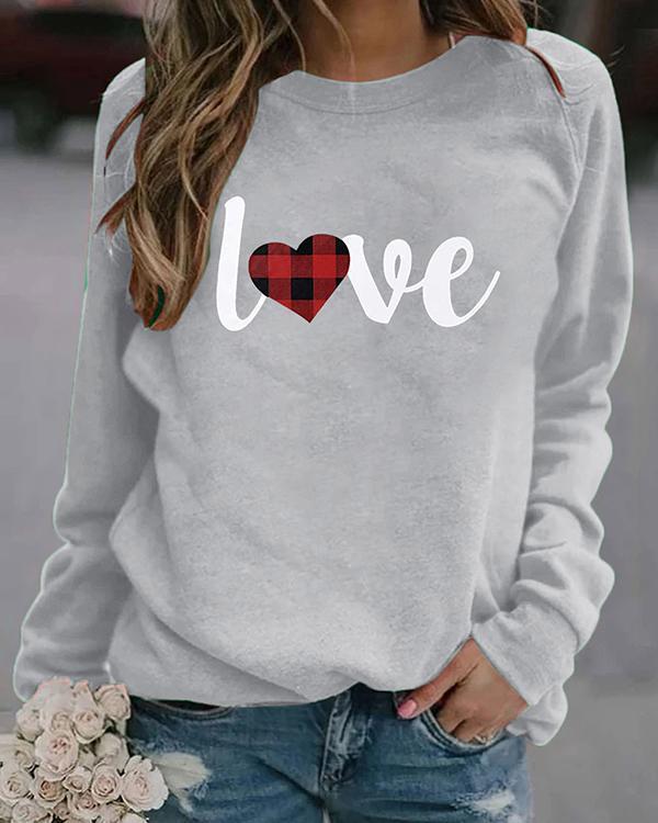 Love Print Long Sleeves Crew Neck T-shirt